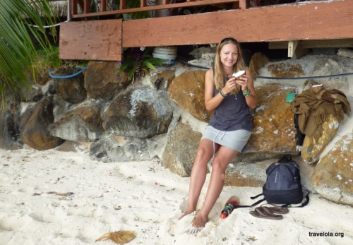 Crack the coconut... here you are... now get in a tourist pose... ready?