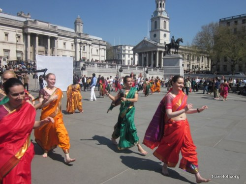 Watching the shooting of a Bollywood music video in Trafalgar Square