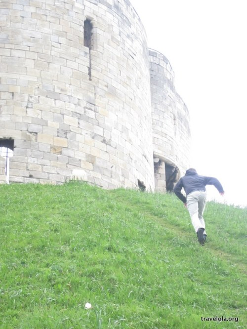 D-man runs up to Clifford's Tower in York