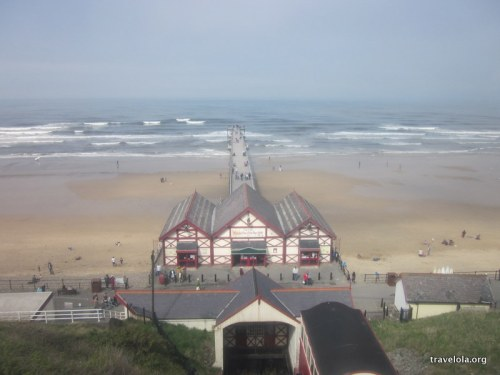 Saltburn pier views with a fairly crowded lineup out in the surf