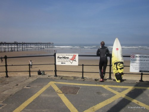 Surfers braving the North Sea chill at Saltburn
