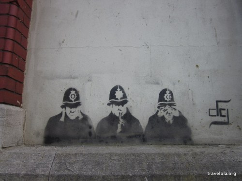 Is it a Banksy? Policemen are often part of his cast, but the tag says otherwise