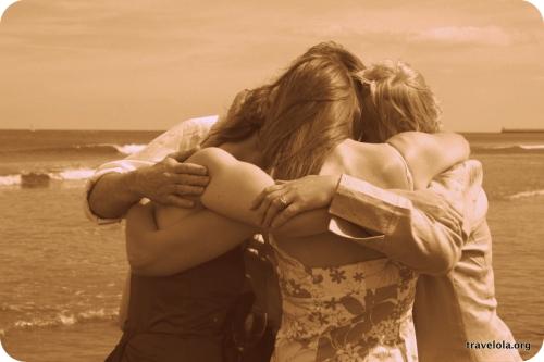 Family group hug