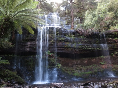 A front on view of Russell Falls in Mt. Field National Park, Tasmania at dusk