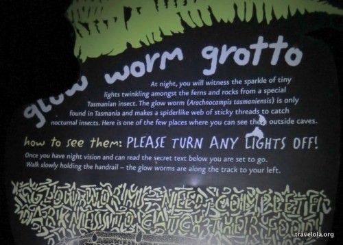 Entrance sign to the glow worm grotto in Mount Field National Park, Tasmania