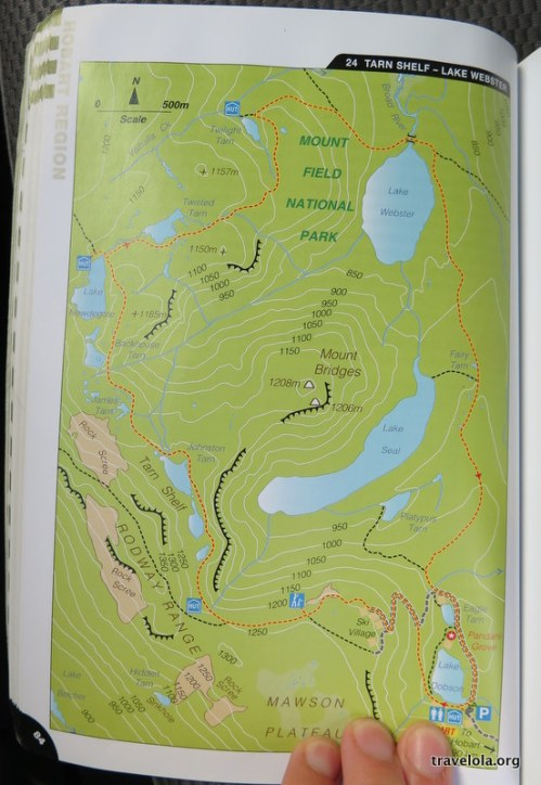 Map showing detail of the Tarn Shelf Circuit hike in Tasmania