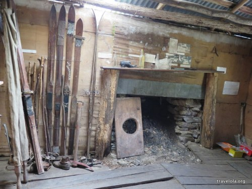 Old skis and fireplace at Twilight Tarn in Mt Field National Park, Tasmania