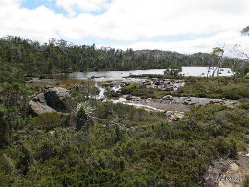 Scrubland and water views over Twisted Tarn in Mt Field National Park, Tasmania