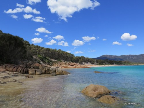 End of Hazards Beach in Freycinet National Park, Tasmania