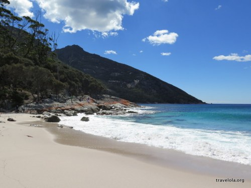 View of beach and ocean edge at Wineglass Bay, Freycinet National Park